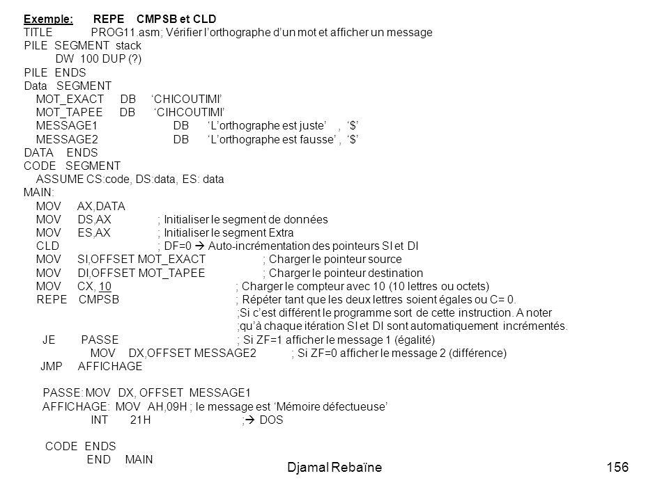 Djamal Rebaïne Exemple: REPE CMPSB et CLD