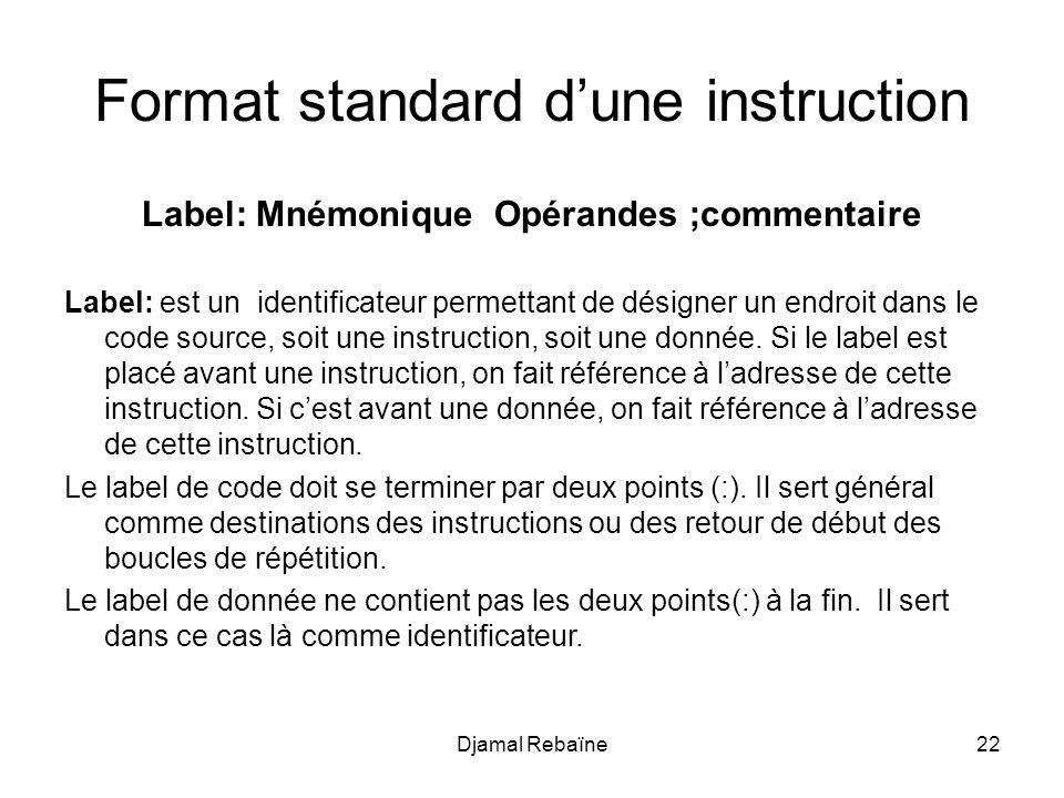 Label: Mnémonique Opérandes ;commentaire