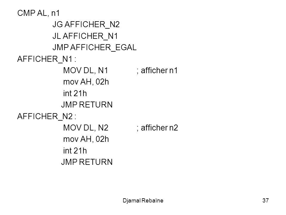 CMP AL, n1 JG AFFICHER_N2 JL AFFICHER_N1 JMP AFFICHER_EGAL
