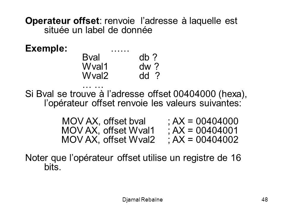 Noter que l'opérateur offset utilise un registre de 16 bits.