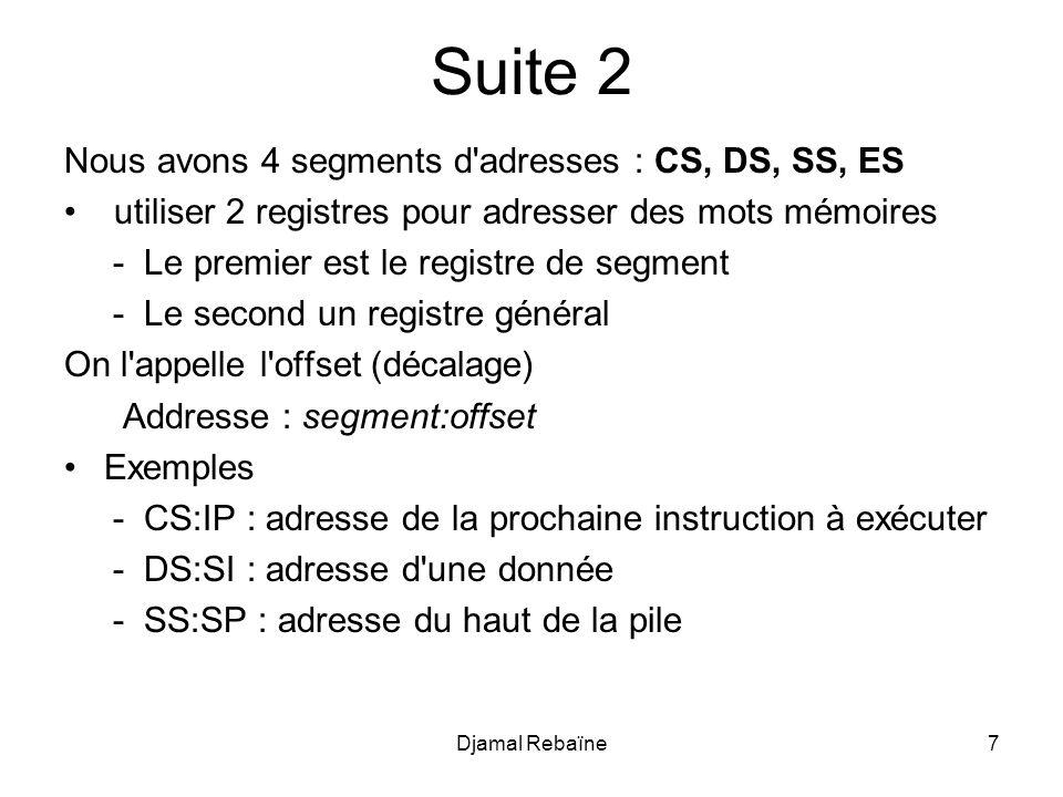Suite 2 Nous avons 4 segments d adresses : CS, DS, SS, ES