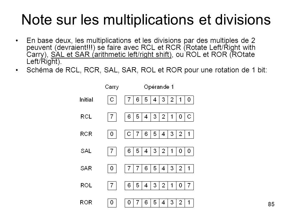 Note sur les multiplications et divisions