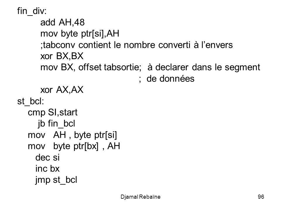 ;tabconv contient le nombre converti à l'envers xor BX,BX