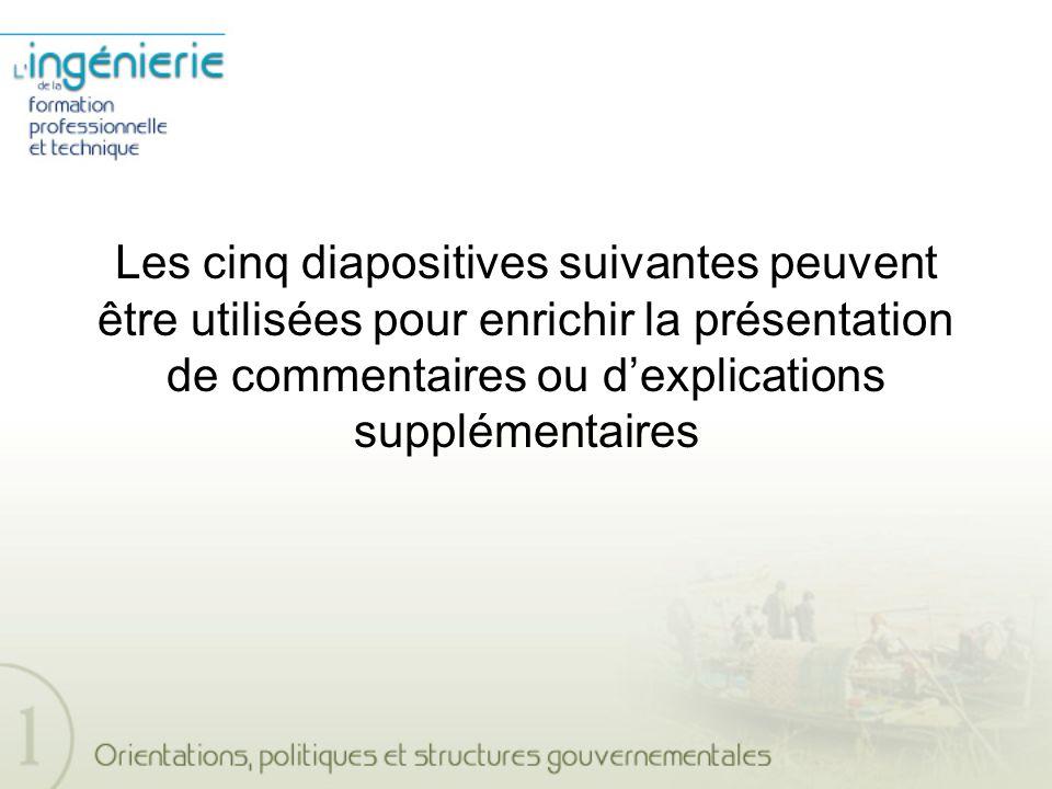Les cinq diapositives suivantes peuvent être utilisées pour enrichir la présentation de commentaires ou d'explications supplémentaires