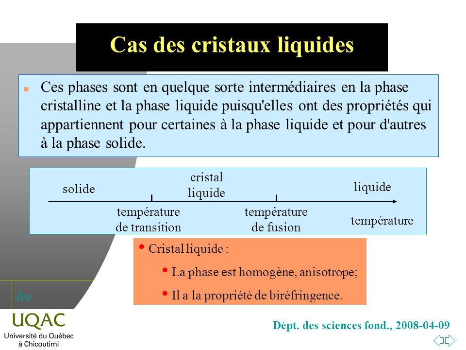 Cas des cristaux liquides