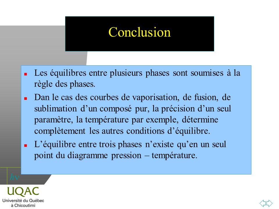 Conclusion Les équilibres entre plusieurs phases sont soumises à la règle des phases.