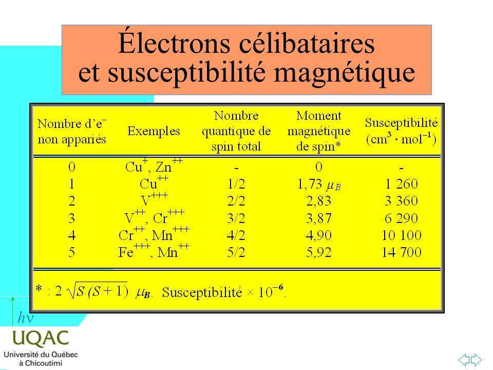 Électrons célibataires et susceptibilité magnétique