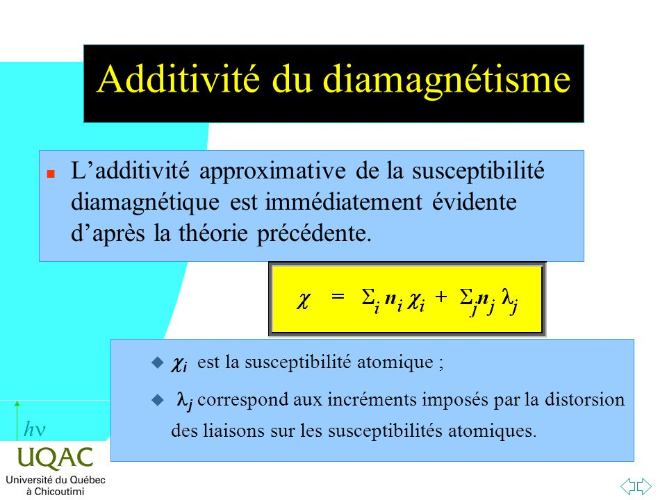 Additivité du diamagnétisme