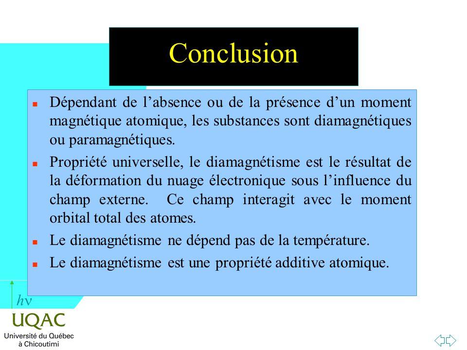 Conclusion Dépendant de l'absence ou de la présence d'un moment magnétique atomique, les substances sont diamagnétiques ou paramagnétiques.