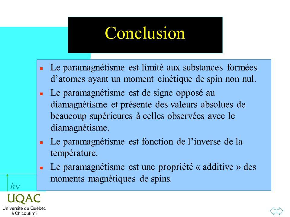 Conclusion Le paramagnétisme est limité aux substances formées d'atomes ayant un moment cinétique de spin non nul.
