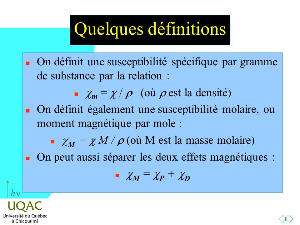Quelques définitions On définit une susceptibilité spécifique par gramme de substance par la relation :