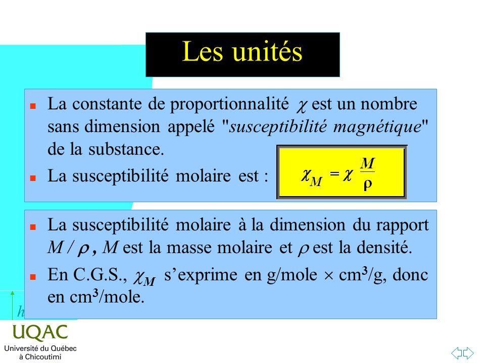 Les unités La constante de proportionnalité c est un nombre sans dimension appelé susceptibilité magnétique de la substance.