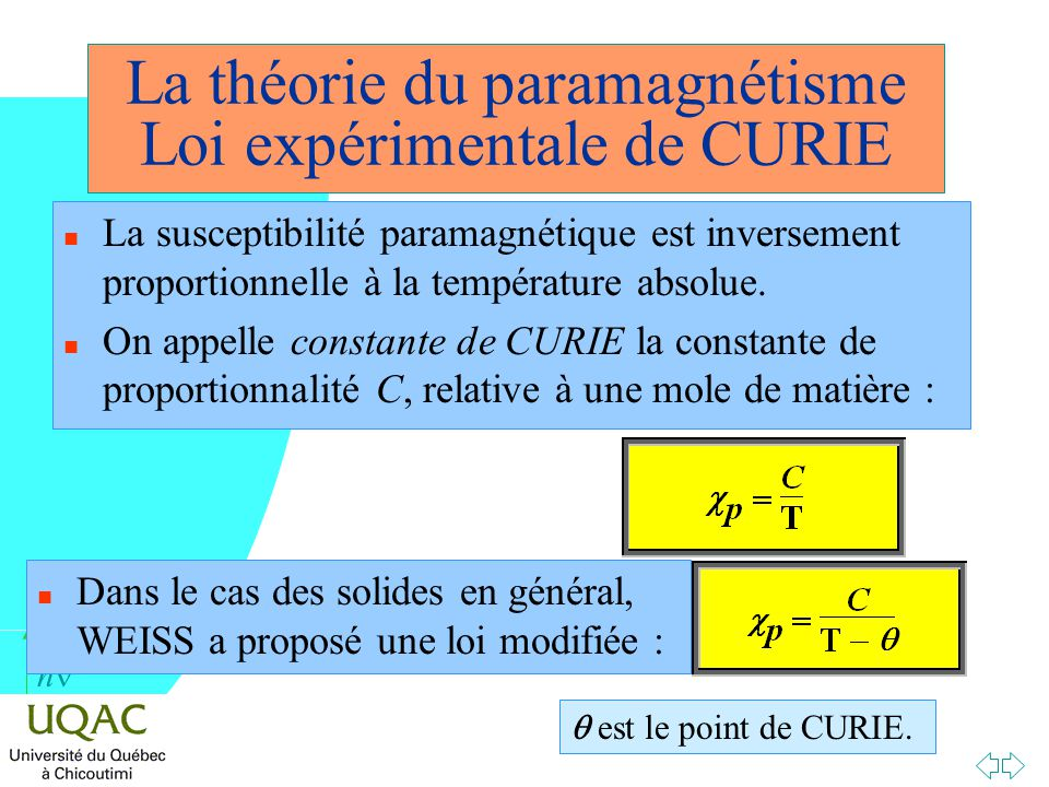 La théorie du paramagnétisme Loi expérimentale de CURIE