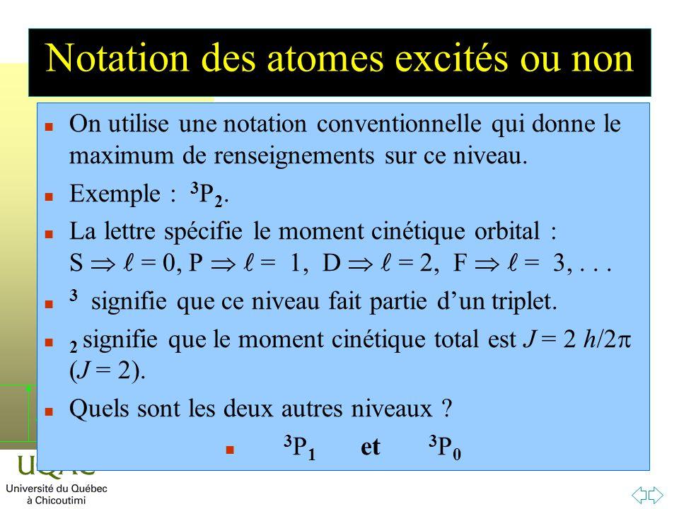 Notation des atomes excités ou non