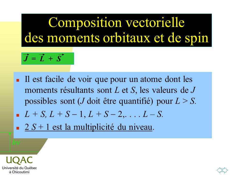 Composition vectorielle des moments orbitaux et de spin