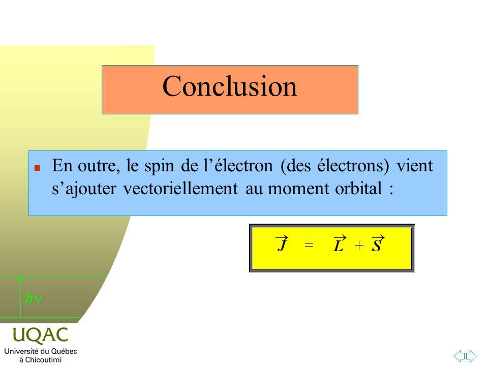Conclusion En outre, le spin de l'électron (des électrons) vient s'ajouter vectoriellement au moment orbital :