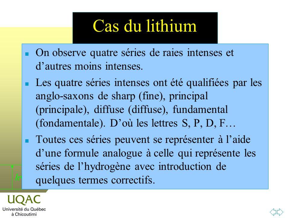 Cas du lithium On observe quatre séries de raies intenses et d'autres moins intenses.