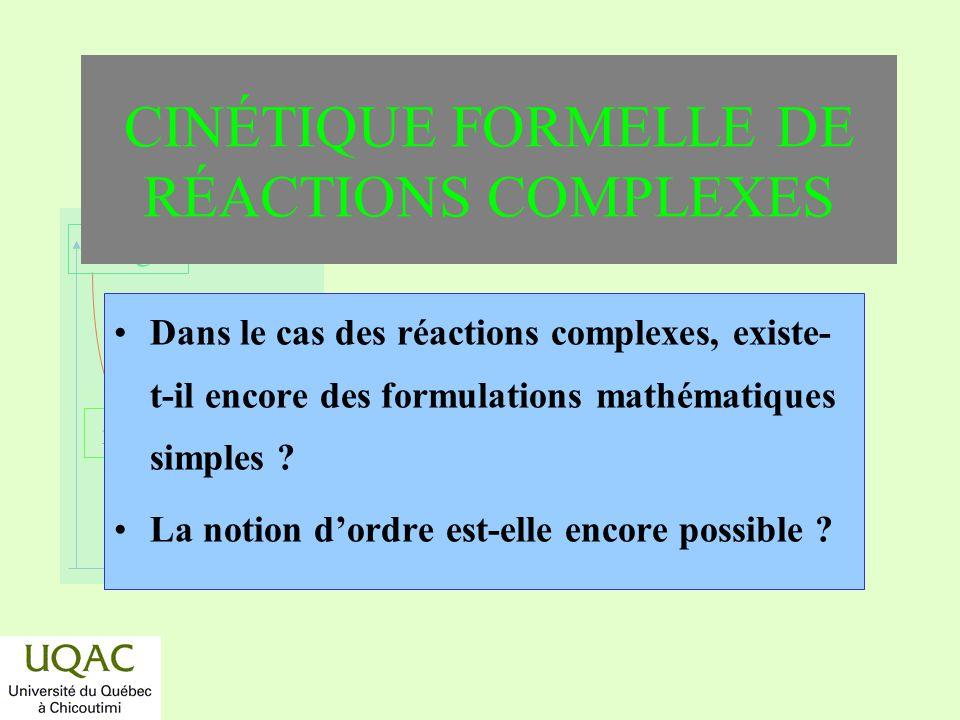 CINÉTIQUE FORMELLE DE RÉACTIONS COMPLEXES