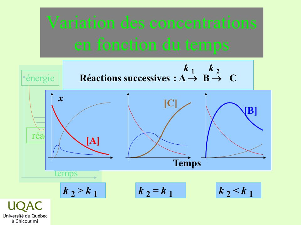 Variation des concentrations en fonction du temps