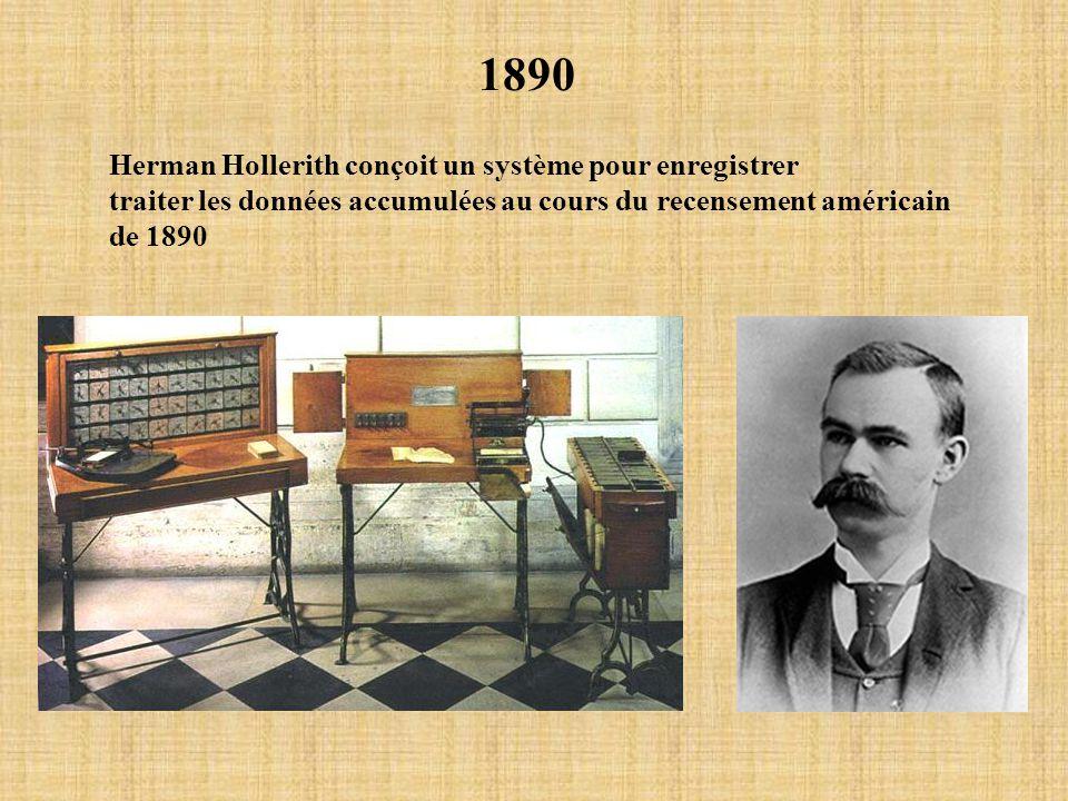 1890 Herman Hollerith conçoit un système pour enregistrer