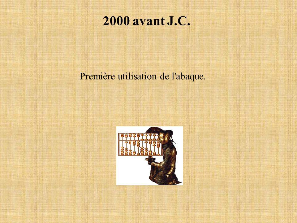 2000 avant J.C. Première utilisation de l abaque.