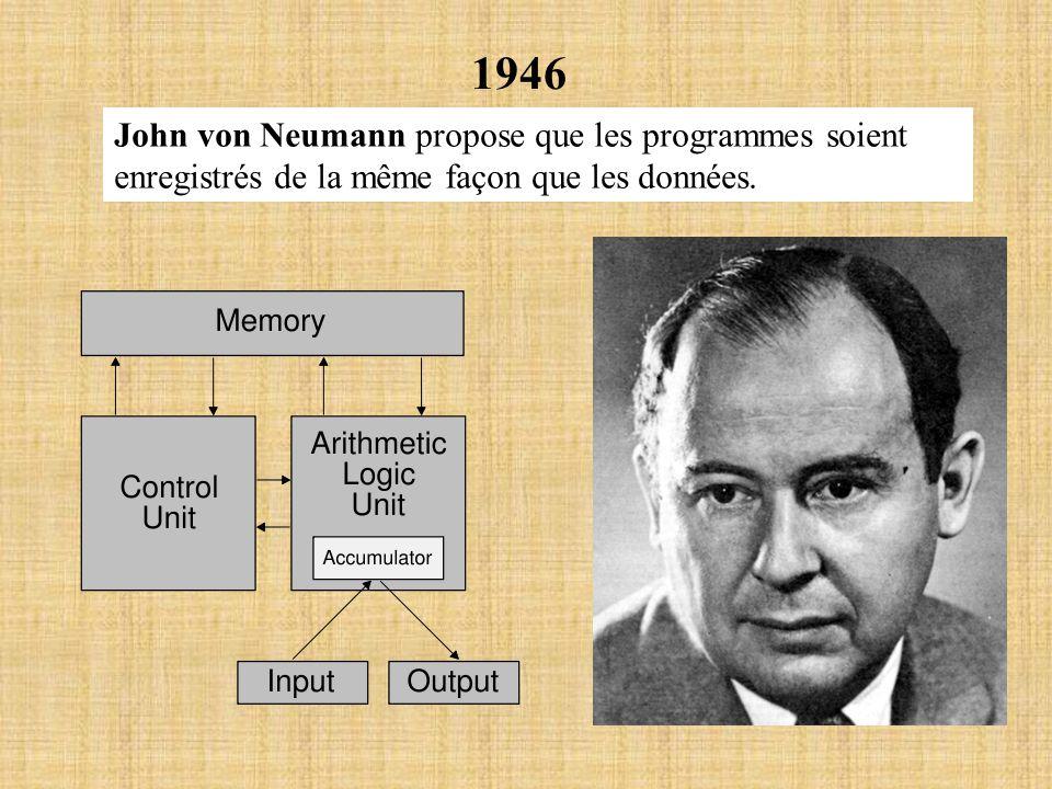 1946 John von Neumann propose que les programmes soient enregistrés de la même façon que les données.