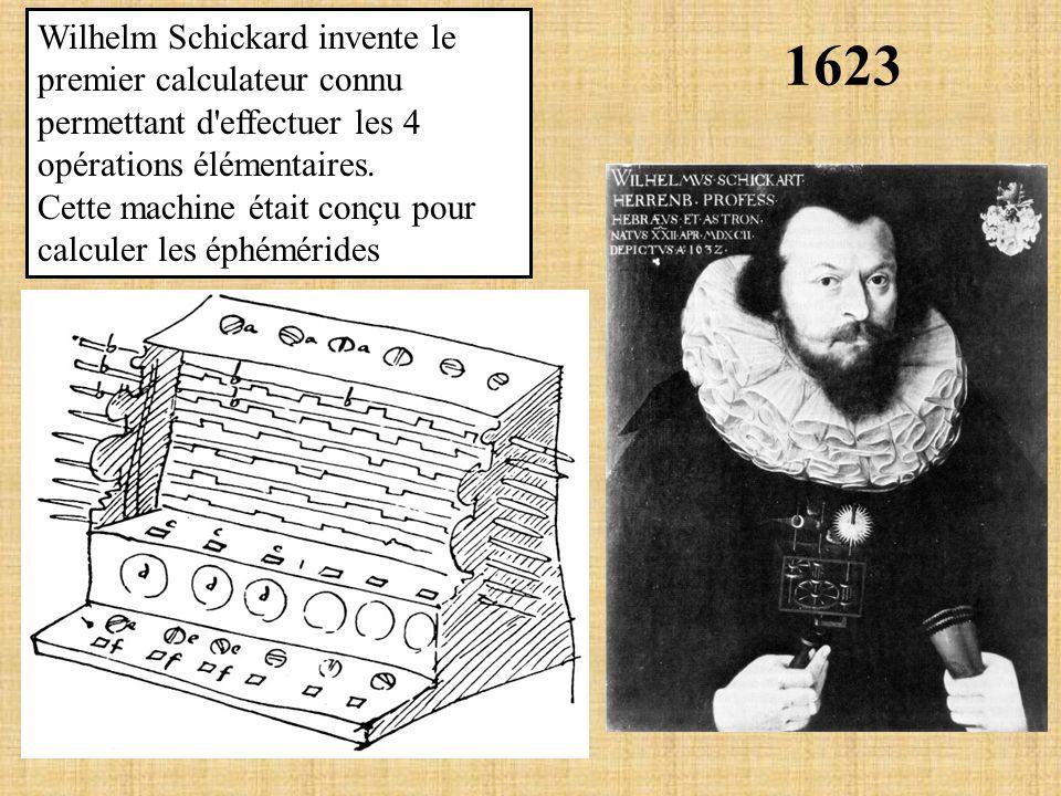 Wilhelm Schickard invente le premier calculateur connu permettant d effectuer les 4 opérations élémentaires.