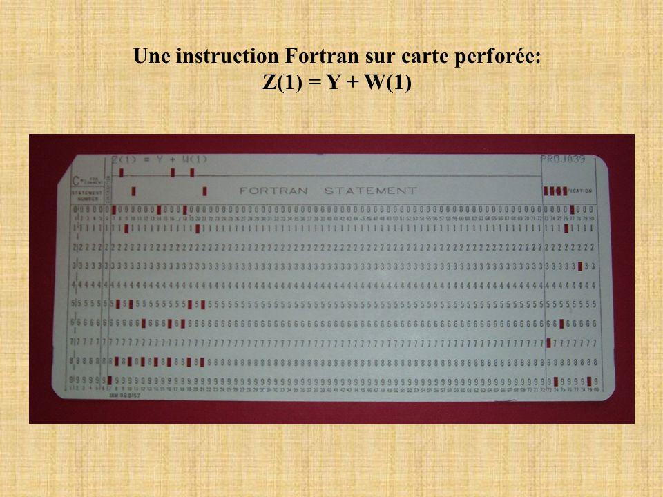 Une instruction Fortran sur carte perforée: