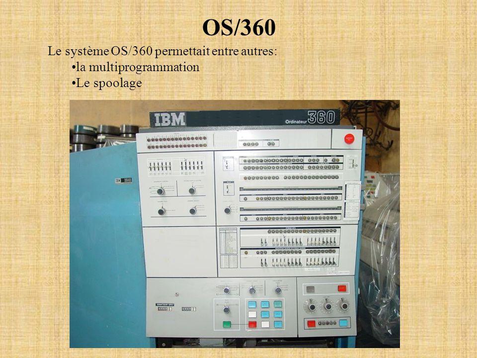 OS/360 Le système OS/360 permettait entre autres: