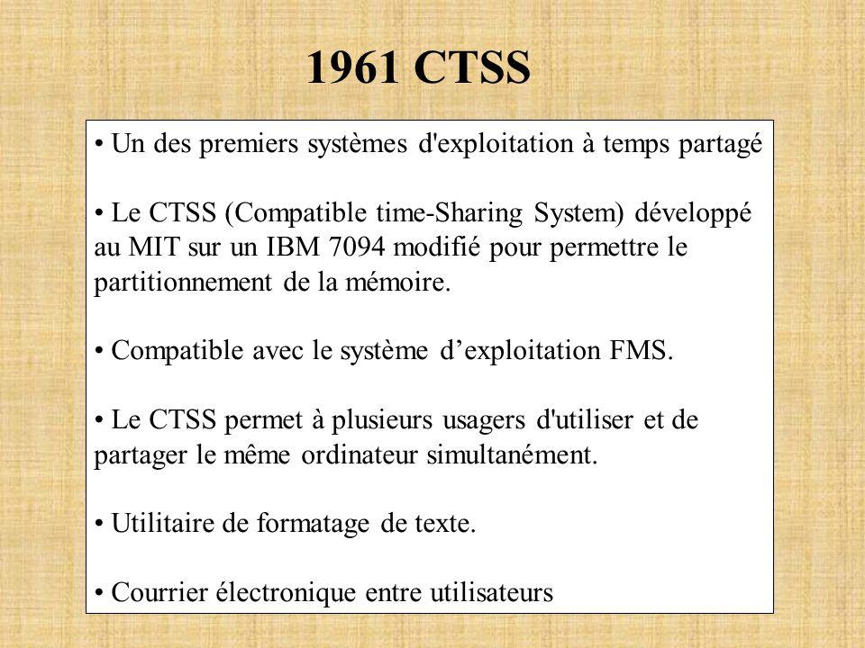 1961 CTSS Un des premiers systèmes d exploitation à temps partagé