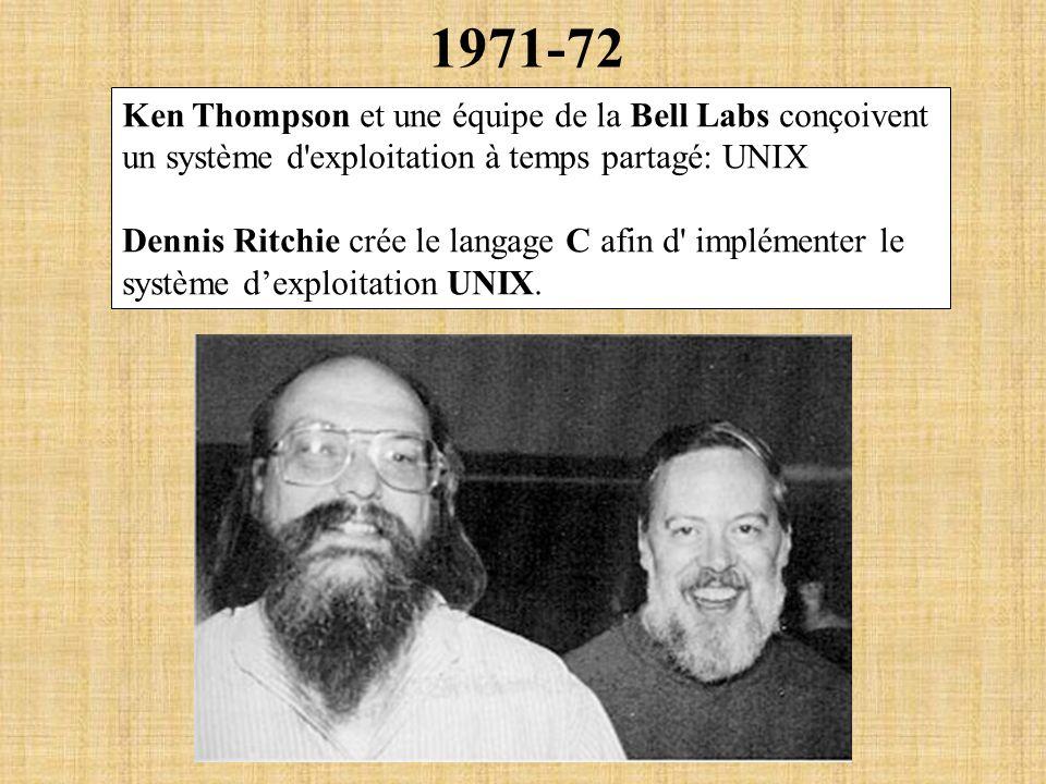 1971-72 Ken Thompson et une équipe de la Bell Labs conçoivent un système d exploitation à temps partagé: UNIX.