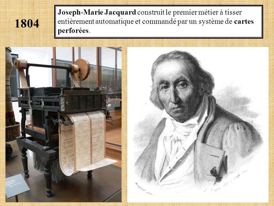 Joseph-Marie Jacquard construit le premier métier à tisser entièrement automatique et commandé par un système de cartes perforées.