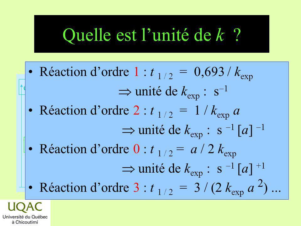 Quelle est l'unité de k Réaction d'ordre 1 : t 1 / 2 = 0,693 / kexp