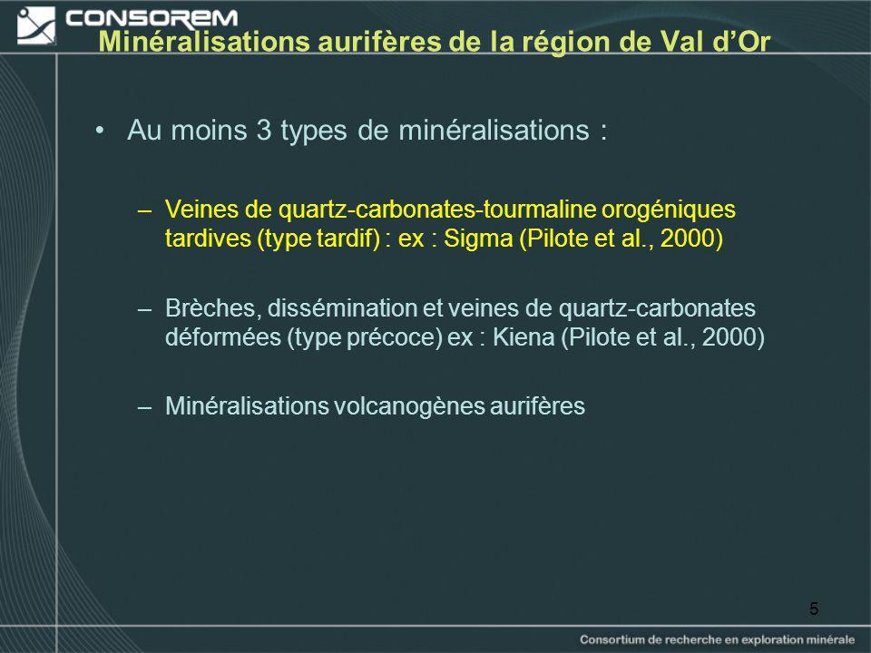 Minéralisations aurifères de la région de Val d'Or