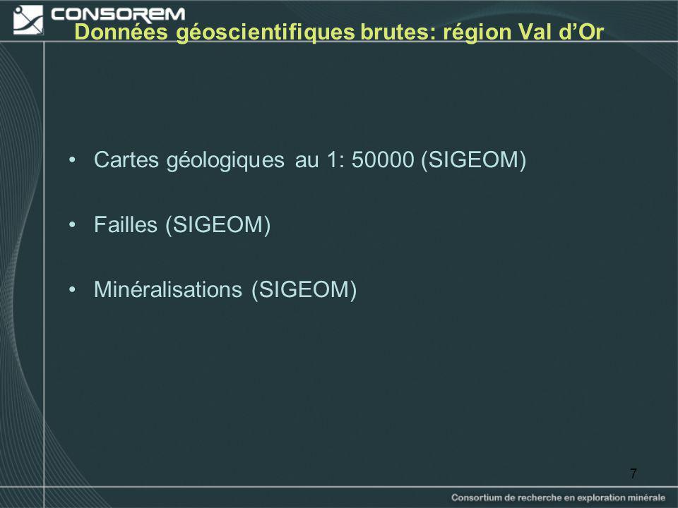 Données géoscientifiques brutes: région Val d'Or