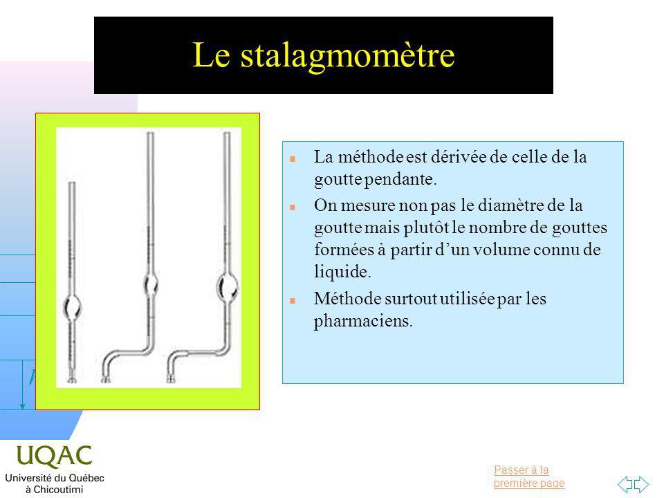 Le stalagmomètre La méthode est dérivée de celle de la goutte pendante.