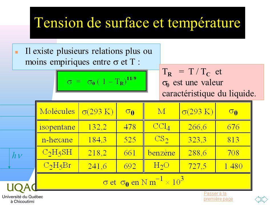 Tension de surface et température