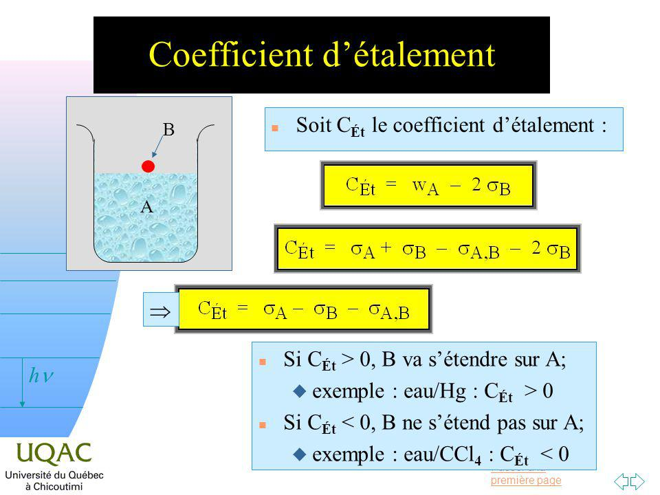 Coefficient d'étalement