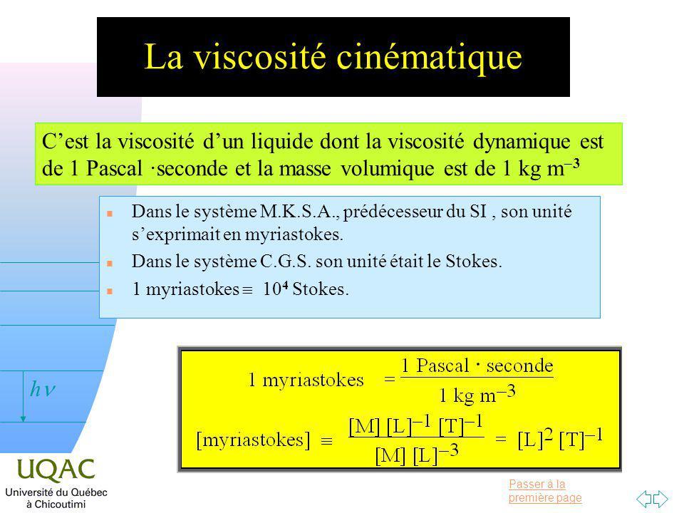 La viscosité cinématique