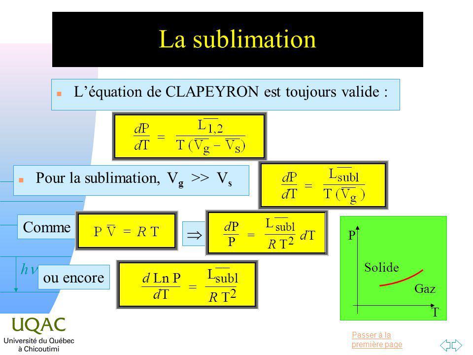 La sublimation L'équation de CLAPEYRON est toujours valide :