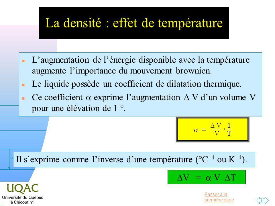 La densité : effet de température