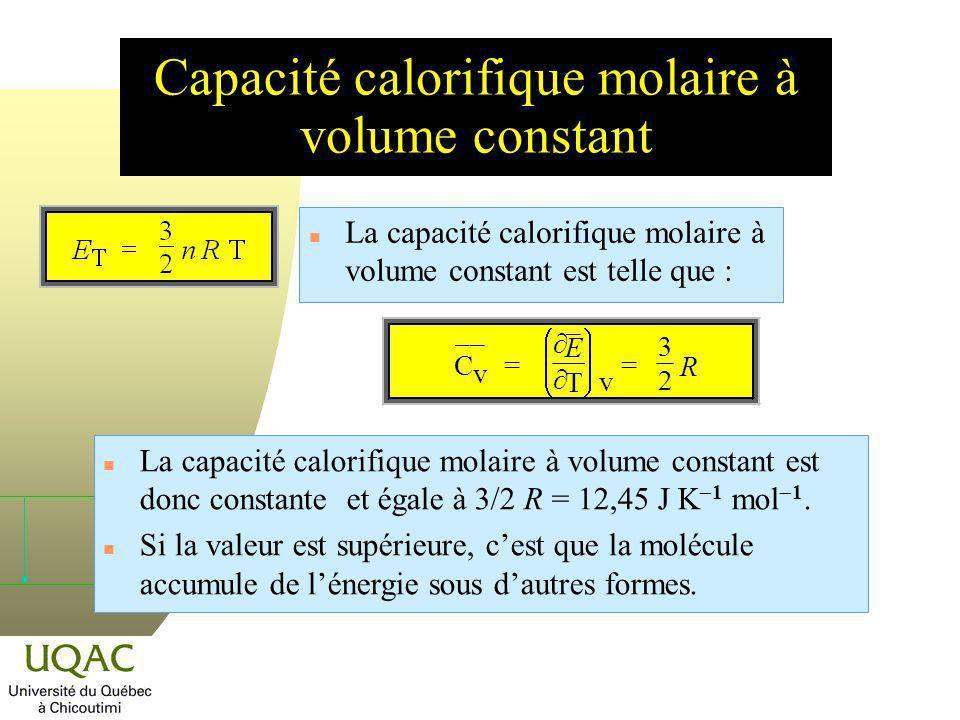 Capacité calorifique molaire à volume constant