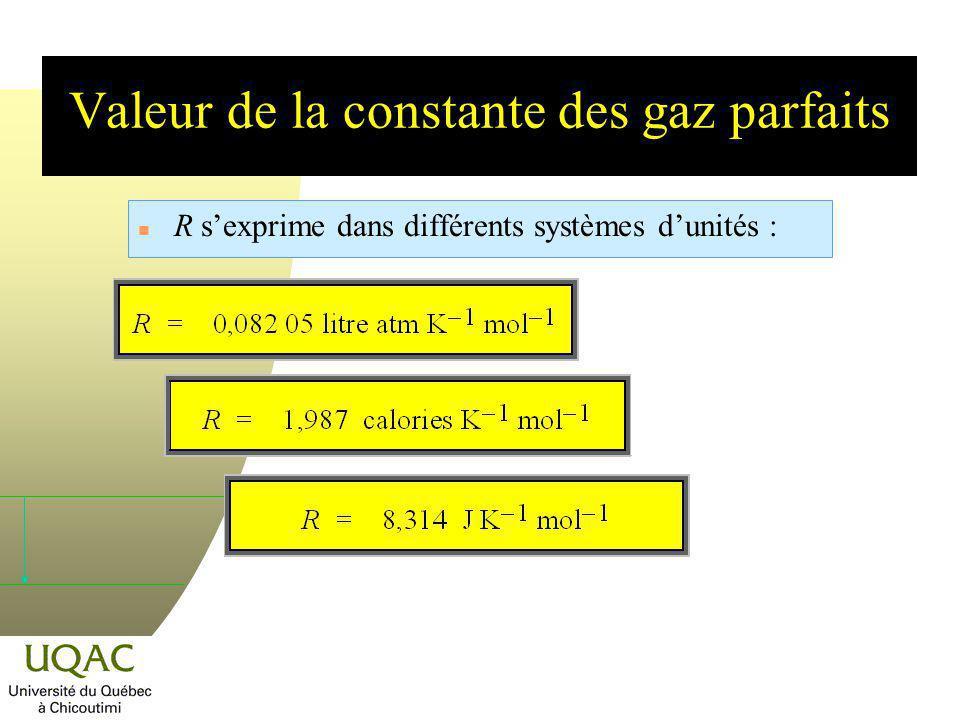 Valeur de la constante des gaz parfaits