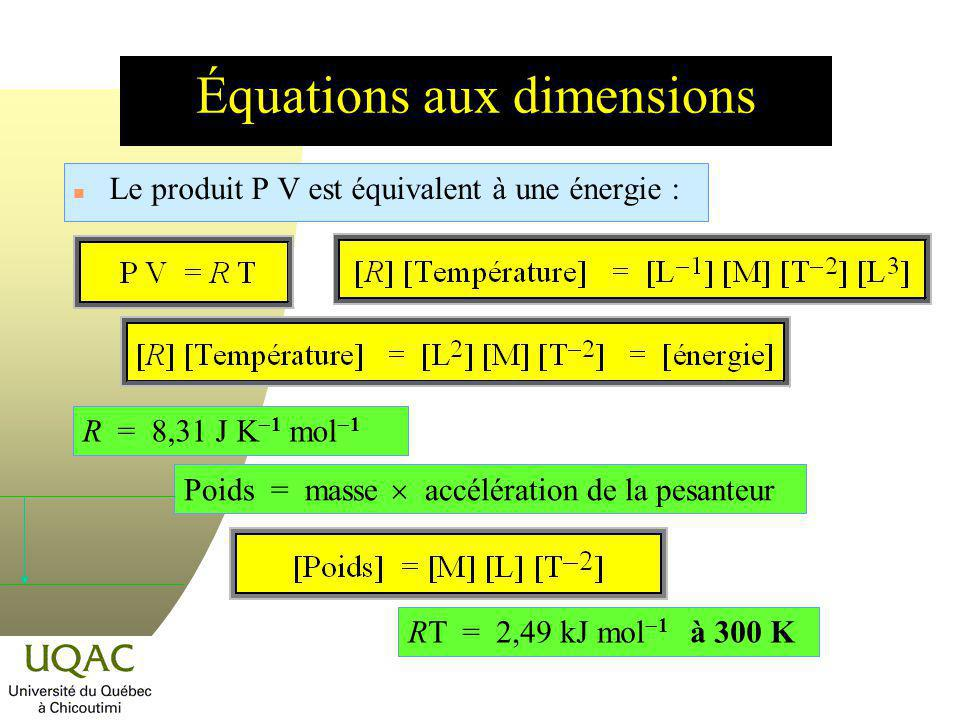 Équations aux dimensions