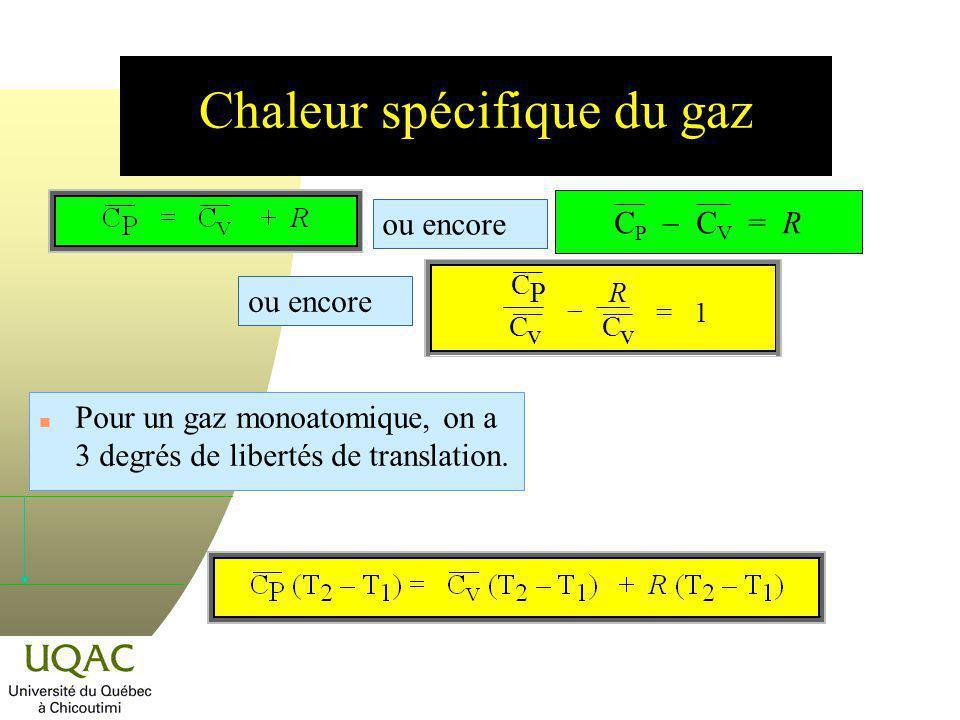 Chaleur spécifique du gaz