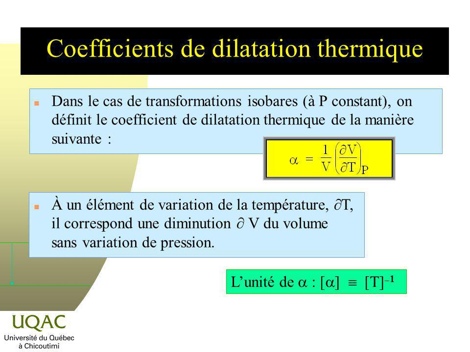 Coefficients de dilatation thermique