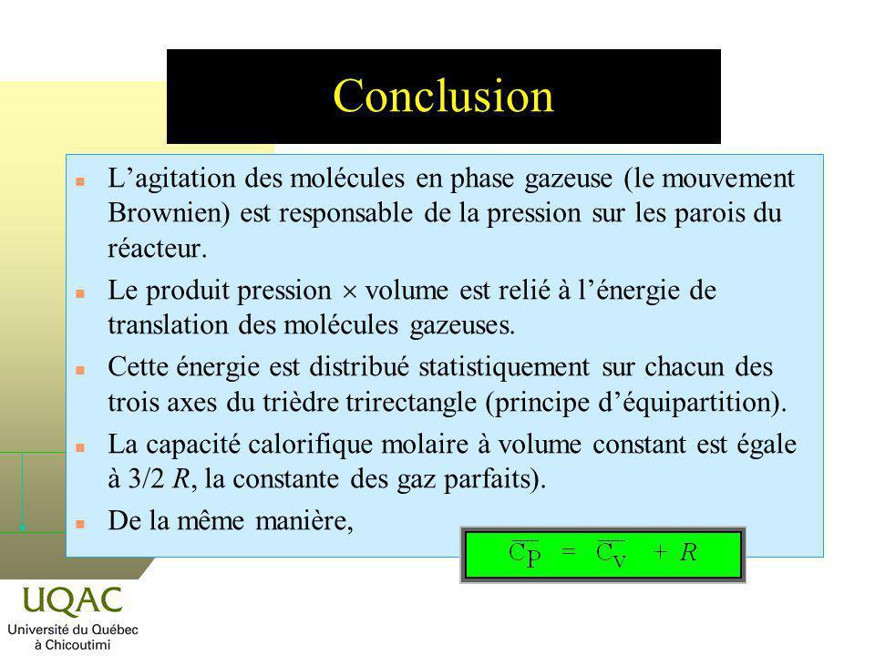 Conclusion L'agitation des molécules en phase gazeuse (le mouvement Brownien) est responsable de la pression sur les parois du réacteur.