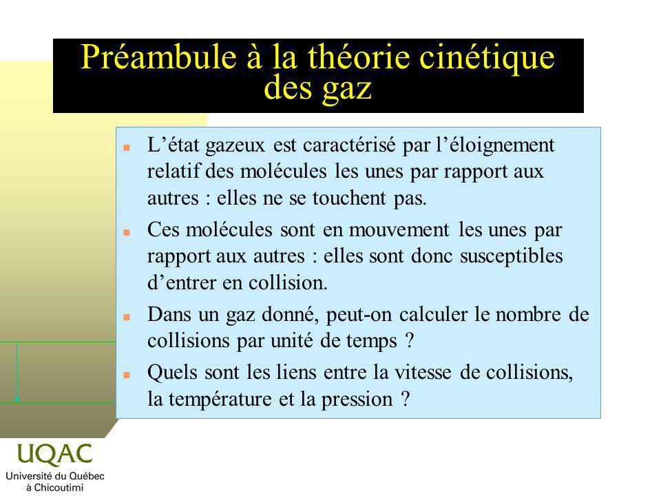Préambule à la théorie cinétique des gaz