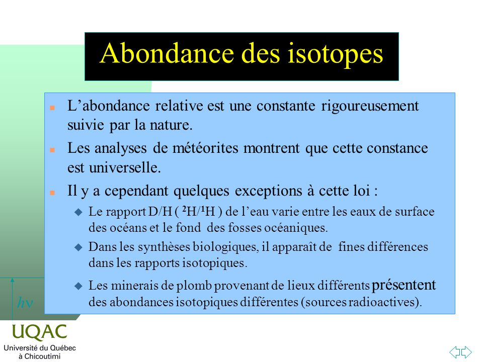 Abondance des isotopes