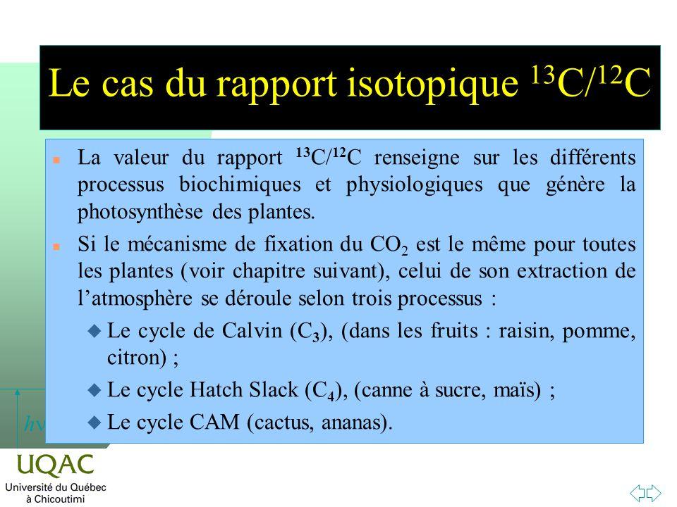 Le cas du rapport isotopique 13C/12C